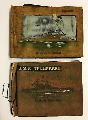 2 Original 1925 U.S.S. Tennessee Photo Albums w/300+ Pictures & Postcards