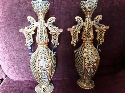 GENUINE ANTIQUE FISCHER J BUDAPEST PAIR OF MATCHING RETICULATED VASES  c1890