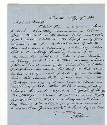 1863 Boston Man's Letter Plan to Buy Whiskey in West, Store & Sell in East