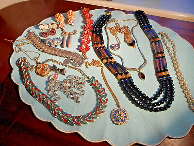 Job Lot Of Vintage Mixed  Jewellery Inc Clipon Earrings Necklaces Coin Bracelet