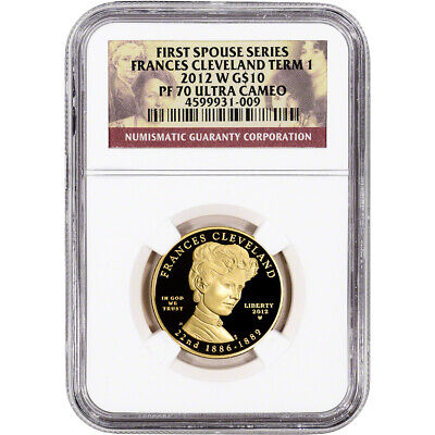 2012-W US First Spouse Gold 1/2 oz Proof $10 Frances Cleveland 1st Term NGC PF70