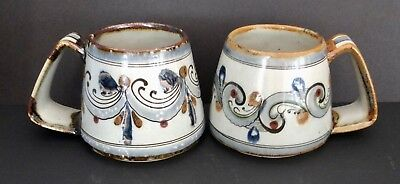 Pair Of Vintage Ken Edwards Tonala El Palomar Mexico Pottery Large 16oz. Mugs