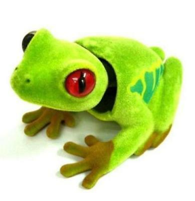Bobble Head TREE FROG Car Dash Bobbing Animal Green Orange Eyes Movable Nodder