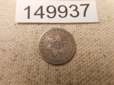 1853 Three Cents Silver Very Nice Higher Grade Collector Coin Raw - # 149937