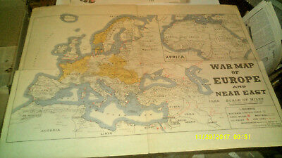 Vintage Original War Map Of Europe And Near East & Europe 24 X 18 Inches