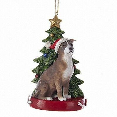 American Pitbull Sitting by Christmas Ornament Pet Dog Animal Decoration C7954PB