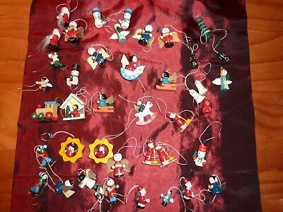 Vintage WOODEN CHRISTMAS TREE DECORATIONS x42 pieces