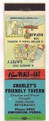 Charley's Friendly Tavern, Emporium PA Charles & Pearl Vought Matchcover 073118