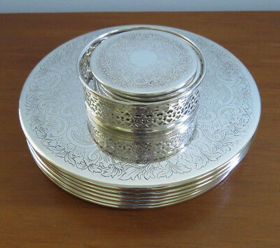 Quality Strachan Silver Plated - 6 Placemats - 6 Coasters plus Bottle Coaster