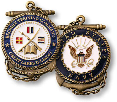 NEW U.S. Navy Recruit Training Command Great Lakes Illinois Challenge Coin.