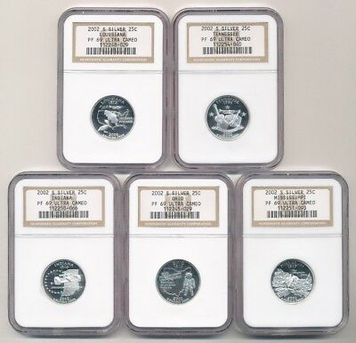 Lot of (5) 2002-S Proof Silver Quarters NGC PF 69 Ultra Cameo TN/LA/MS/OH/IN