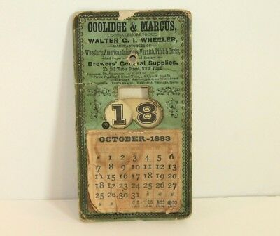 Antique 1883 Coolidge & Marcus Advertising Calendar From New York