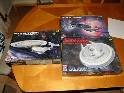 "3 Large 19"" Long AMT Star Trek USS Enterprise Models B C E No Instr Missing Pcs"
