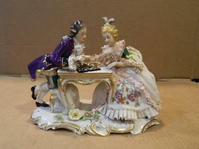 Frankenthal Porcelain Figurine Man & Woman Playing Chess Dresden Lace Vintage