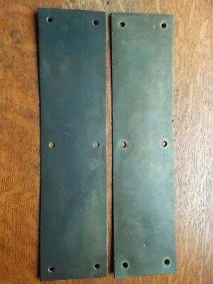 "Two Antique Brass Door Push Plates Doorplates c1920 15"" Tall"