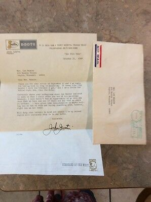 """1969 John Justin """"Justin Boots """"Airmail Fort Worth TX Signed Letter & Envelope"""