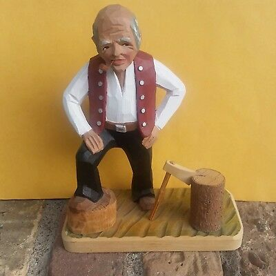 "Norwegian Norway form carved by hand Flat Plane Man Chopping wood 7 1/2"" high HP"