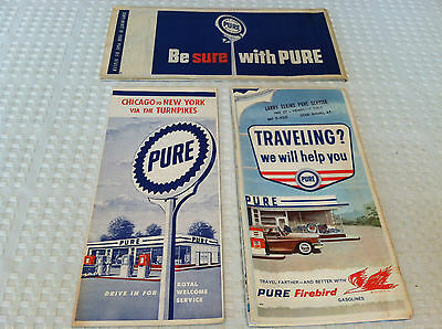 VINTAGE 1950's Lot of 3 PURE Service Station U.S. State Road & Turnpike Maps