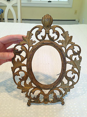Antique 1800s GOLD CAST IRON WARNER VICTORIAN ROCOCO ORNATE OVAL PICTURE FRAME