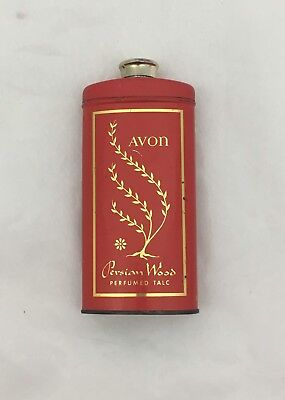 Vintage Avon Persianwood Perfume Powder Beauty Perfumed Talc Metal Container