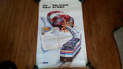 "1970's Amtrak Advertising Poster, ""gas Pains?,take Amtrak For Relief"", 25X40"