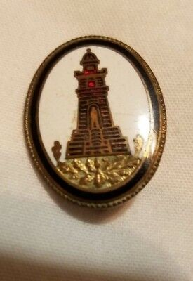 German Military  Enamled Brass Pin Badge of Temple on Gold Inlayed Leaves