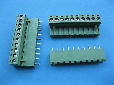 100 x 5.08mm Straight 10 way/pin Screw Terminal Block Connector Green Pluggable
