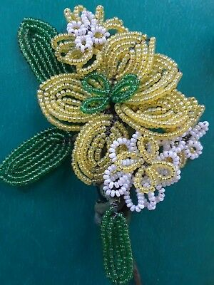 3 Vintage  French  Glass Beaded Wire Flowers Yellow White Green