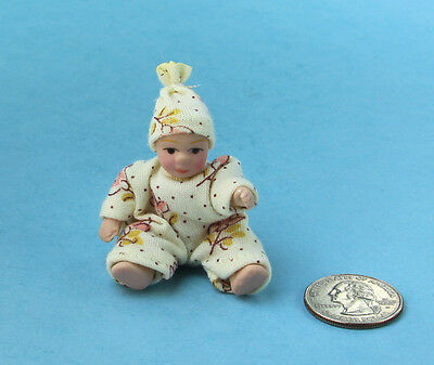 1/12 Scale: Dollhouse Miniature Porcelain Dressed Baby Girl Doll #S4738