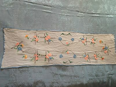Beautiful Vintage Hand-Embroidered Cambric Table Runner