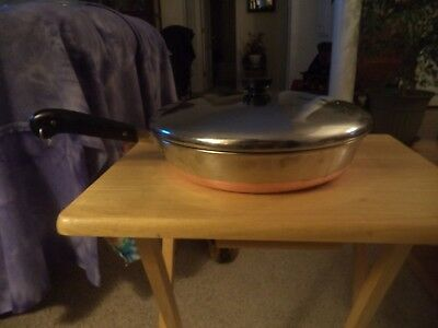 """Vintage!!!  """"Revere Ware"""" 12in.Stainless Steel, Copper Bottom Skillet with Lid."""