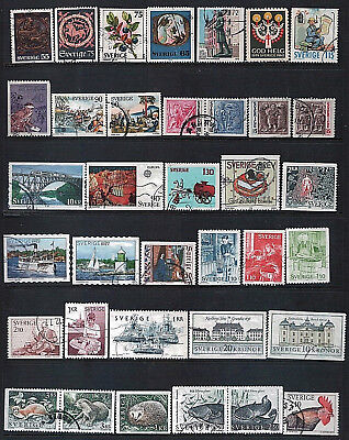 SWEDEN - Mixed lot of 33 Stamps, most Good - Fine Used, LH