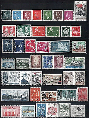 SWEDEN - Mixed lot of 43 Stamps, most Good - Fine Used, LH