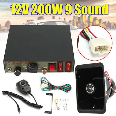 200W 12V 9 Sound Loud Car Warning Alarm Police Siren Horn PA Speaker MIC System