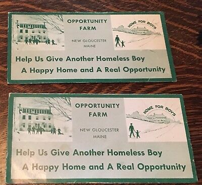 "Pair Of Vintage New Gloucester ME Ink Blotter ""Opportunity Farm Home For Boys"""