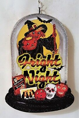 WITCH, SKULL, DEVIL, FRIGHT NIGHT, BAT * Glitter HALLOWEEN ORNAMENT * Vtg Img