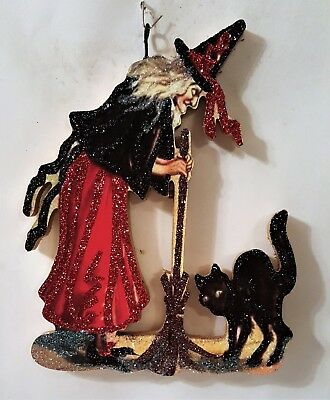 WITCH w/ BROOMSTICK & BLACK CAT  * Glitter HALLOWEEN ORNAMENT * Vtg Img