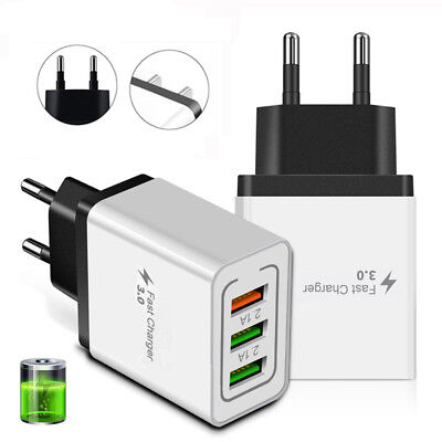3 Port Fast Charge 3.0 USB Hub Phone Home Wall Charger Power Adapter US EU Plug