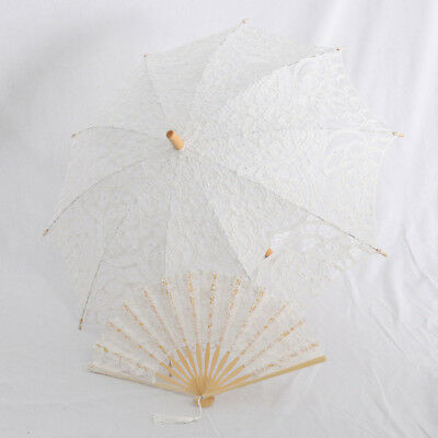 Delicate Folding Hand Fan with Lace Umbrella Parasol Dance Stage Prop White