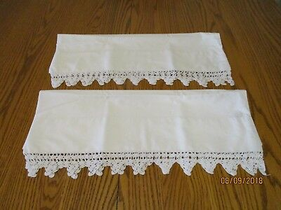 Vintage white cotton pillowcases with crochet