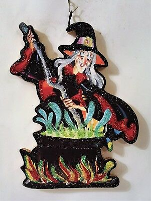 WITCH w/ COLORFUL BUBBLING CAULDRON * Glitter HALLOWEEN ORNAMENT  Vtg Img