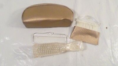 5pc Vintage Lu Mar Clear Lucite Brush and Comb Set in Gold Case Poss Avon