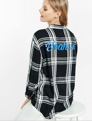 """New Express Graphic """"yeah No"""" Black Plaid Oversized Shirt Blouse Top L"""
