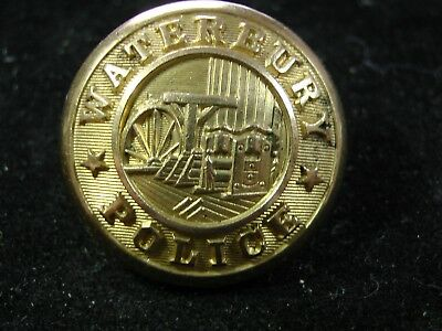 Late 19th C WATERBURY POLICE Industrial Scene GILT POLICE BUTTON 25mm Waterbury