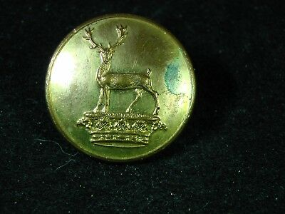SHEE FAMILY STAG at GAZE on DUCAL CROWN 25mm GILT LIVERY BUTTON FIRMIN 1855-75