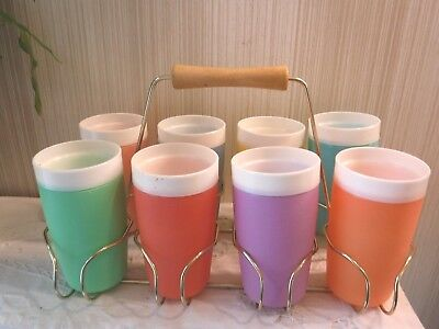 VINTAGE Bolero Therm O Ware 2 Qt Never Used Pitcher + 8 Tumblers + Carrier