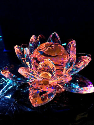 Large Dark Maroom/ Red Crystal Lotus Flower Ornament With Box  Crystocraft Newuk