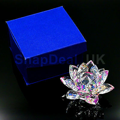 Large  Multi Crystal Lotus Flower Ornament With Gift Box  Crystocraft Home Newuk