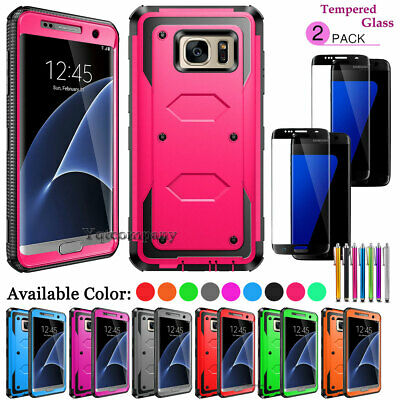 For Samsung Galaxy S6 S7 Edge S8 S9 Plus S10e Case + Full Cover Tempered Glass