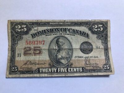 1923 Dominion of Canada 25 cent Shinplaster McCavour/Saunders